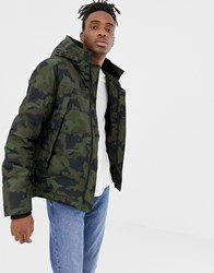 Your Turn Yourturn Padded Jacket In Camo With Faux Fur Lined Hood Green