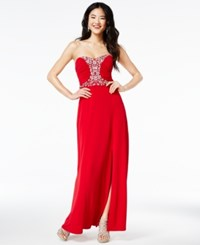 Amy Byer Bcx Juniors' Strapless Beaded Gown A Macy's Exclusive Style Red