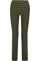 Victoria Beckham Stretch Jacquard Slim Leg Pants Green