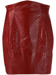 Nineminutes Crocodile Effect Mini Skirt Red