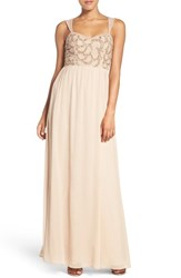 Adrianna Papell Women's Beaded Bodice V Neck Chiffon Gown