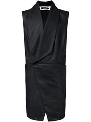 A New Cross Asymmetric Four Pocket Vest Black