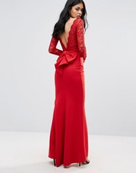 City Goddess Bow Back Maxi Dress With Lace Body Red