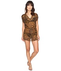 Lauren Ralph Lauren Leopard Sheer Tunic Cover Up Brown Women's Swimwear