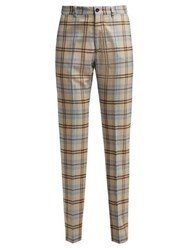 Connolly High Waisted Checked Wool Blend Trousers Beige Multi