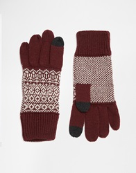 Asos Touch Screen Gloves In Burgundy Fair Isle Palm Print
