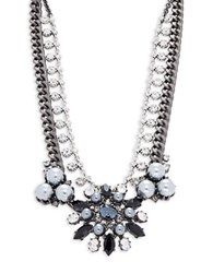 Gerard Yosca Faux Pearl And Crystal Layered Statement Necklace Silver
