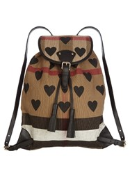 Burberry Heart Print Canvas Check Backpack Black Multi