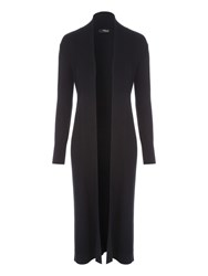 Jane Norman Rib Maxi Cardigan Black