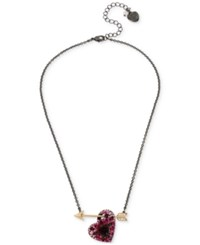 Betsey Johnson Two Tone Red Heart And Arrow Pendant Necklace Two Tone