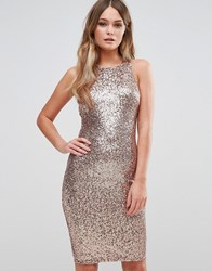 New Look Sequin Bodycon Dress Rose Gold