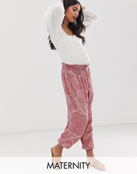 New Look Maternity Paisley Jogger In Red Pattern