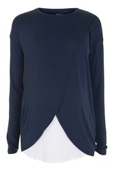 Topshop Maternity Long Sleeve Drape Nursing Top Navy Blue