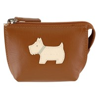 Radley Heritage Dog Small Leather Coin Purse Tan