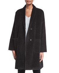 Eileen Fisher Alpaca Blend Knee Length Coat Women's Black