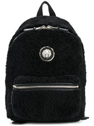 Versus All Around Zip Backpack Cotton Calf Leather Lamb Fur Black