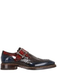Harris Croc Embossed Leather Monk Strap Shoes