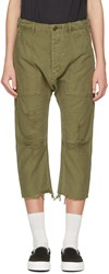 R 13 R13 Green Ripped Utility Trousers