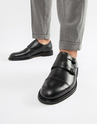 Selected Homme Leather Double Monk Strap Shoe Black