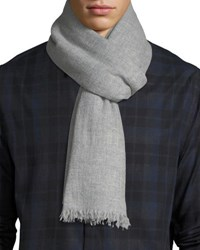 Neiman Marcus Lightweight Cashmere Scarf With Side Tipping Gray