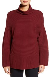 Vince Camuto Women's Ribbed Turtleneck Sweater Malbec Red