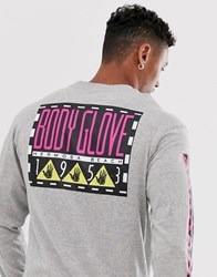Body Glove Box Long Sleeve T Shirt With Arm And Back Print In Grey