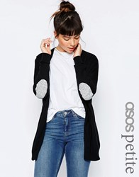Asos Petite Swing Cardigan With Grey Oval Elbow Patch Black
