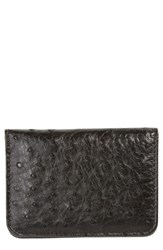 Mezlan Men's Ostrich Leather Card Case Black