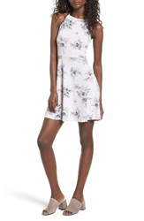 Lush Women's Ava Skater Dress Blush Blue Floral