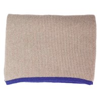 40 Colori Beige Petrol Blue Small Ribbed Wool And Cashmere Scarf Silver