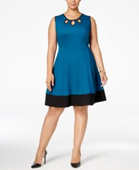 Monteau Trendy Plus Size Cutout Fit And Flare Dress Dark Teal