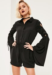 Missguided Black Lace Up Sleeve Shirt Playsuit