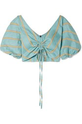 Paper London Caicos Cropped Gathered Striped Linen Blend Top Turquoise