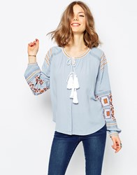 Asos Ultimate Embroidered Peasant Blouse In Chambray Blue
