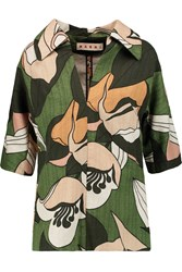 Marni Printed Cotton And Linen Blend Shirt Green