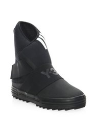 Y 3 New Snow Round Toe Boots Black