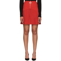 Givenchy Red Pleated Logo Miniskirt