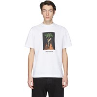 Palm Angels White Burning Skeleton T Shirt