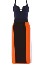 Victoria Beckham Color Block Silk Crepe De Chine Midi Dress Black Navy