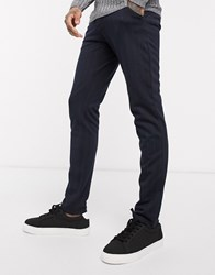 Tom Tailor Slim Fit Chinos In Navy Pinstripe