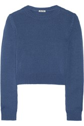 Miu Miu Cropped Cashmere Sweater Blue