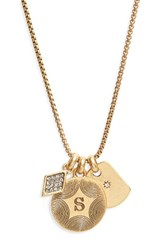Treasure And Bond Women's Triple Charm Initial Pendant Necklace S Gold