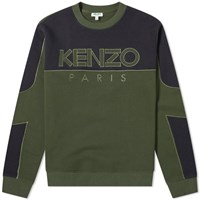 Kenzo Mixed Mesh Crew Sweat Green