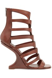 Rick Owens Cutout Leather Sandals Chocolate