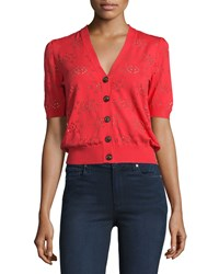 See By Chloe Short Sleeve Button Front Lace Cardigan Red