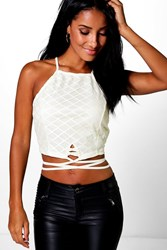 Boohoo Lace Strappy Crop Top Yellow