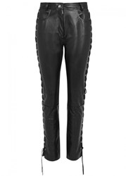 Magda Butrym Lawrence Lace Up Leather Trousers Black