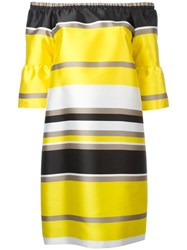 Blugirl Striped Off Shoulder Dress Yellow Orange