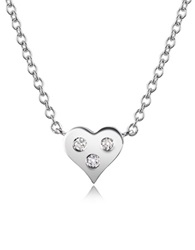 Forzieri 0.05 Ct Diamond Heart Pendant Necklace White Gold