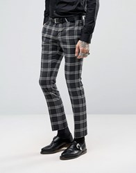 Noose And Monkey Super Skinny Suit Trousers In Check With Stretch Black